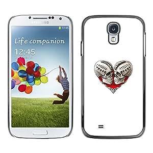 GOODTHINGS ( NO PARA S4 Mini ) Funda Imagen Diseño Carcasa Tapa Trasera Negro Cover Skin Case para Samsung Galaxy S4 I9500 - sangre del cráneo del corazón del amor huesos blanco