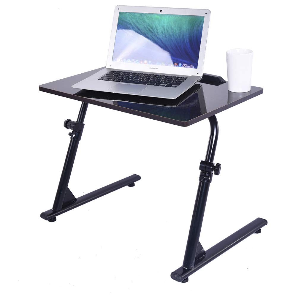Yikey Home Office Desk with Raise and Lower The Folding TV Tray Black Computer Table