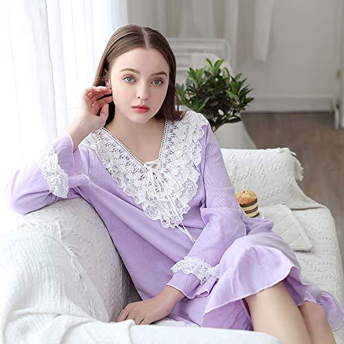 En Niñas Pijama Diario Dream El Larga Women Con Regalo Ideal Vintage Manga Púrpura De Uso Cuello Princesa V Hogar Para RXzcXUWqr