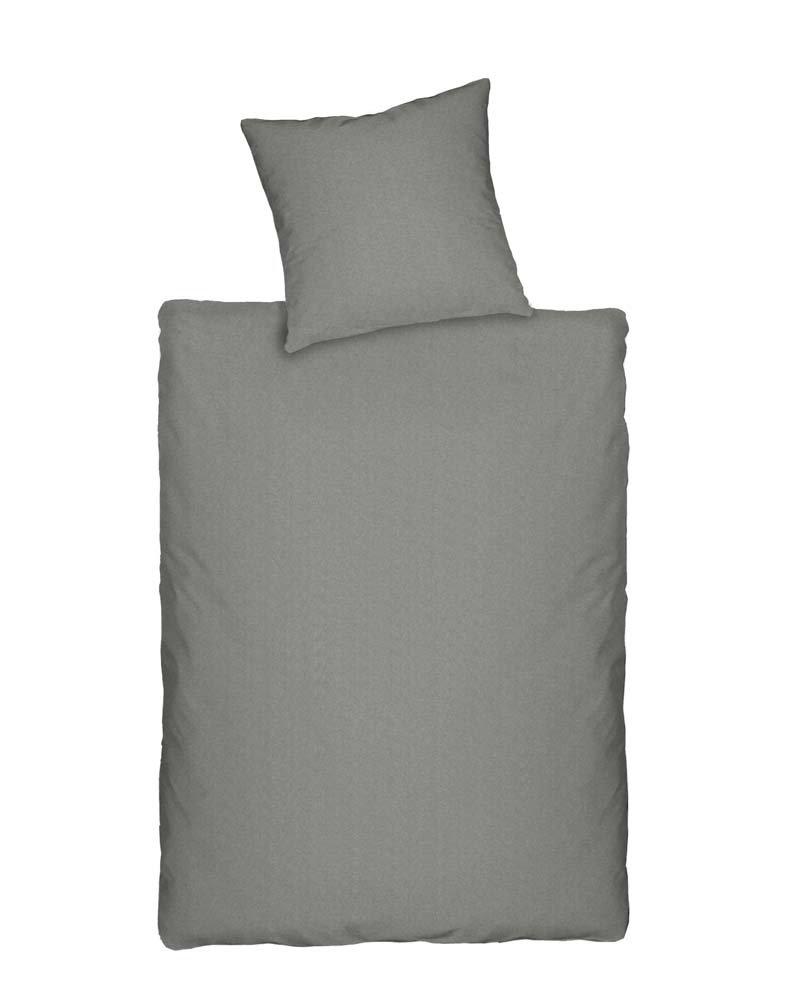 Dormisette Q345 Jersey Bettwäsche in Melange-Optik, Größe 2 x 80 80 und 200 200 cm, grau