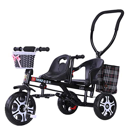 Baby Stroller YXGH@ Children's Tricycle Twin Trolley Double Baby Carriage with Rear Push Rod