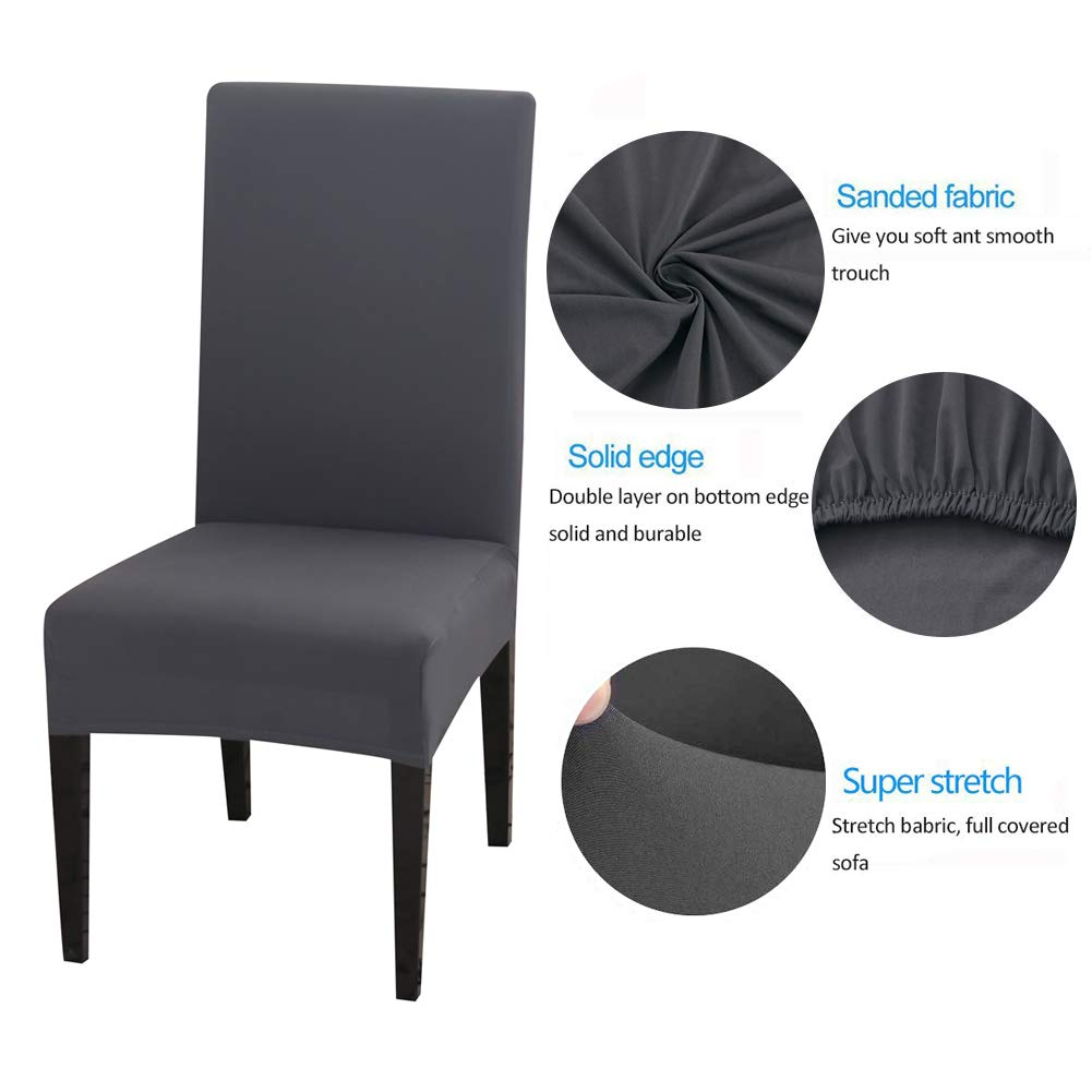 Inmozata Dining Chair Covers High Back Polyester Spandex Elastic Dining Chair Slipcovers Protector Kitchen Chair Seat Covers Washable Removable Grey Set Of 6 Buy Online In Dominica At Dominica Desertcart Com Productid