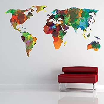 World Map Wall Sticker Water Color Wall Decal Art Living Room Home Decor  Available In 8