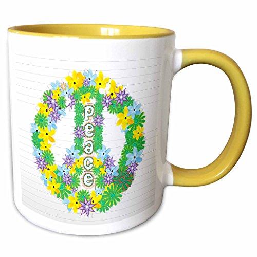 3dRose Anne Marie Baugh Signs - Green, Purple, Yellow Flowered Peace Sign - 11oz Two-Tone Yellow Mug (mug_101288_8)