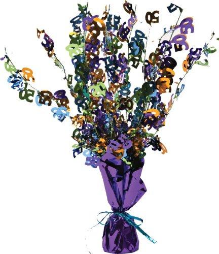 50 Centerpiece Spray (Bright and Bold Mini Foil Spray Centerpiece, 50th Birthday or Celebration)