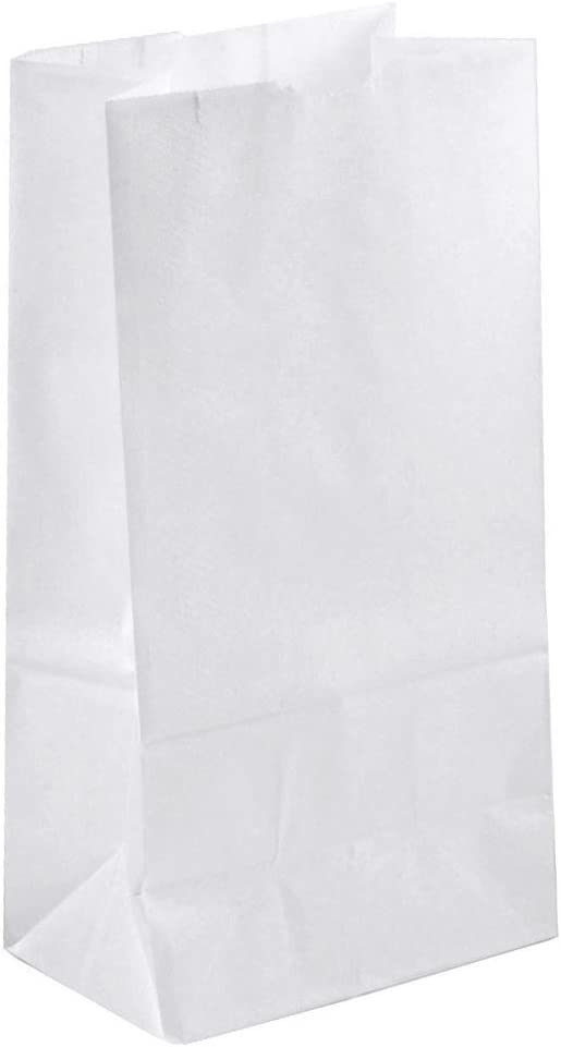 Green Direct Durable White Paper Lunch Bags Size Medium for All Ages Pack of 50
