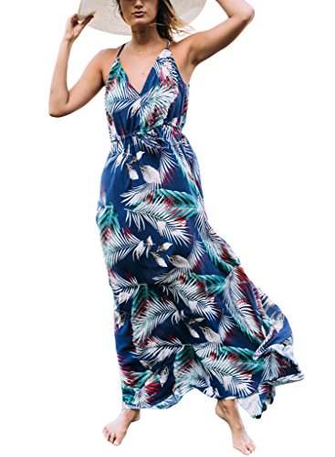 Sidefeel Women Tropical Leaf Print Sexy V Neck Maxi Dress Large Blue (Womens Dress Tropical Print)