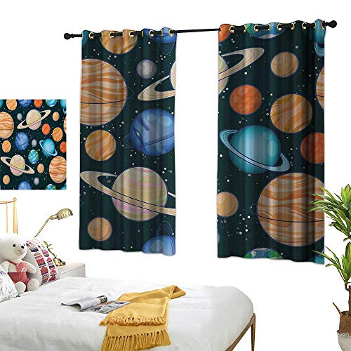 Bedroom Curtains W63 x L63 Galaxy,Cute Galaxy Space Art Solar System Planets Mars Mercury Uranus Jupiter Venus Kids Print,Multi Window Curtains Blackout Printed for Kitchen Bedroom Living Room ()