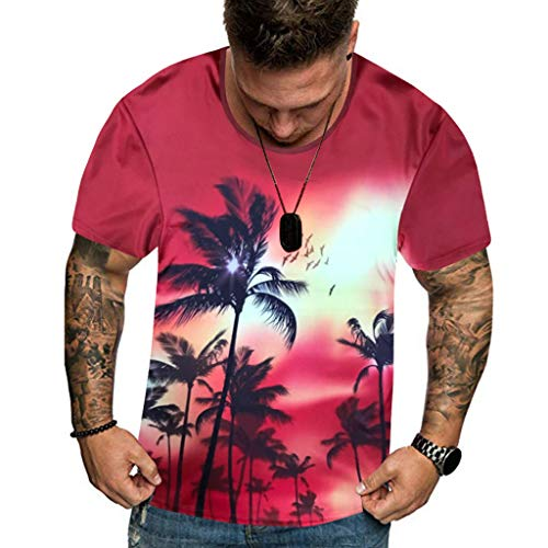 T Shirt Hawaiian Shirt Flower Leaf Beach Party Casual Holiday Short Sleeve Summer New Full 3D Printed Plus Size Cool Printing Top Blouse Men (XXL,2- White)]()