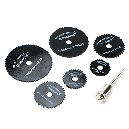 Lily's Gift HSS Circular Saw Blades 7pc 3.2mm Cutting Disc Mandrel Rotary Cut-Off Wheel For Dremel Metal Cutter Power Tool Rotary Tool Wood Cutting Discs Drill Mandrel