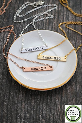 Theta Sigma Phi (Sorority Gift Bar Necklace - DII ABC - Silver Rose Gold Personalized Greek Letters - Rush BSR Big Sister Reveal Gift - 33mm x 5mm)