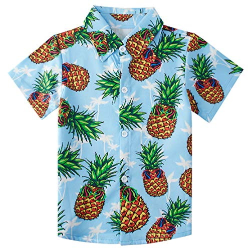 Kids Hawaiian Shirts Boys 3D Graphic Printed Blue Pineapple Button Down T Shirts Summer Beach Aloha Tops Party Camp Short Sleeve Tees Summer Holiday Island Blouse 2-3T