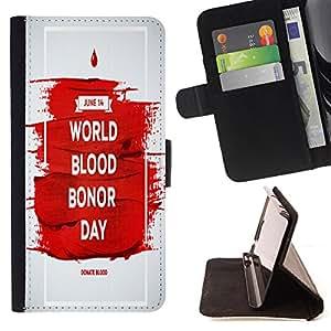 Dragon Case - FOR Sony Xperia Z2 D6502 - world blood bonor day - Caja de la carpeta del caso en folio de cuero del tirš®n de la cubierta protectora Shell