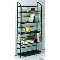 Book Shelf 5 Tier Metal Book Shelves - Black