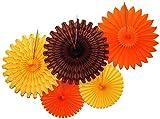 Devra Party 5-Piece Tissue Paper Fans, Fall Orange...