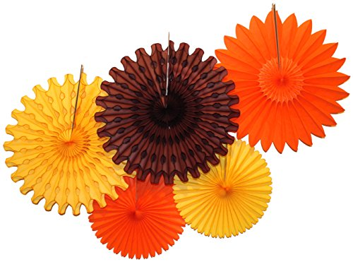 Devra Party Tissue Paper Fan Collection - 5 Large Assorted Fan, 18 and 13 inches (Fall - Orange, Gold, -