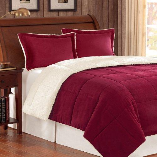 - JLA Home INC Premier Comforter Corduroy/Berber Comforter Mini Set, Twin, Burgundy