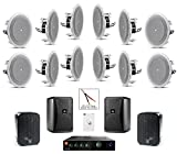 JBL 8128 In-Ceiling Loudspeaker Bundle with JBL CSMA 180 Mixer Amplifier and Accessories - Restaurant Sound System (55 Items)