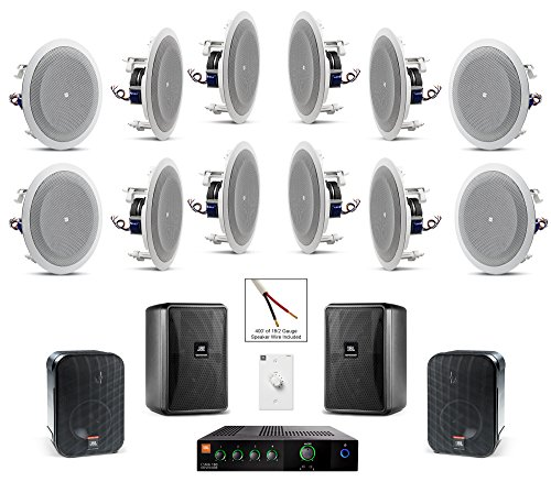 JBL 8128 In-Ceiling Loudspeaker Bundle with JBL CSMA 180 Mixer Amplifier and Accessories - Restaurant Sound System (55 Items) by JBL Professional