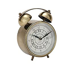Deco 79 40655 Striking Metal Table Clock, 6 W x 7 H