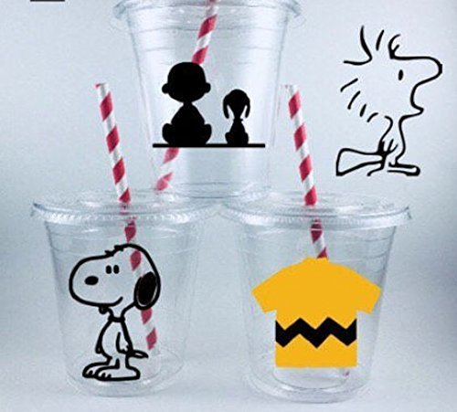Snoopy Party Cups SET OF 24 Birthday Favors WITH Lids and Straws -