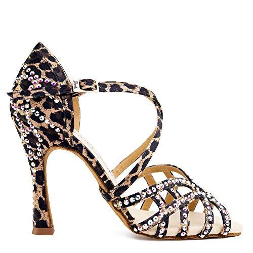 Manuel Reina Zapatos De Baile Latino Mujer Salsa Flex 12 Leopard Bailar Bachata Salsa Kizomba