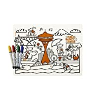 modern-twist Kids Mark-Mat Silicone Coloring Placemat with 4 Dry-Erase Markers, Seattle by modern-twist