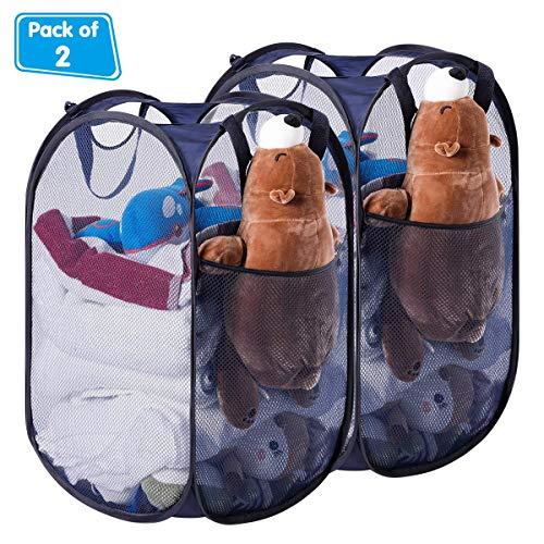 HOMEIDEAS Pack of 2 Foldable Pop-Up Mesh Laundry Hamper Basket for Dorm, Kids Room or Travel, Navy Blue ()