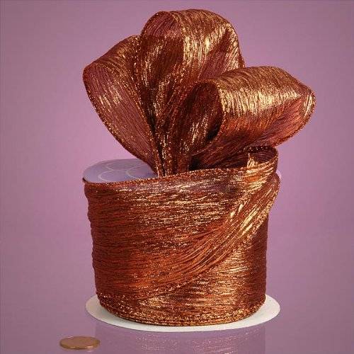 Copper Metallic Crepe Ribbon, 2-1/2'' X 10Yd by Paper Mart