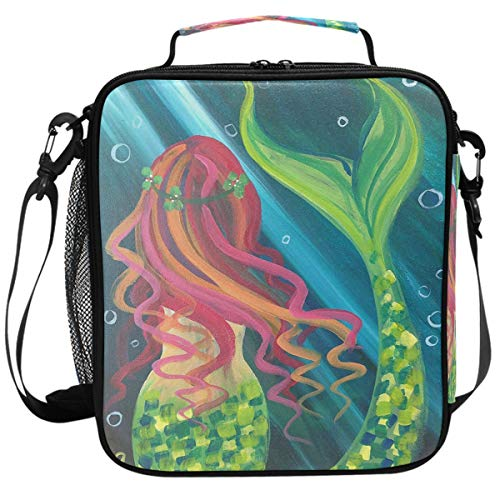Fairy Tale Color Mermaid Tail Colorful Scales Lunch Box Insulated Lunch Bag Large Freezable Mermaid In Ocean Sea Fish Lunch Bag Tote Cooler Lunch Meal with Shoulder Strap for School Kids Boys Girls