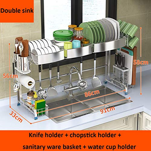 - Dish Rack 304 Stainless Steel Household Kitchen Drain Rack Double Sink Multi-side Frame Suitable For Sinks Up To 86 Cm (color : A)