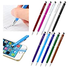 Insten 10 Pack 2-In-1 Slim Light Universal Capacitive Stylus & Black Ink Ballpoint Pen for Apple iPhone 7/ 7 Plus/ 6S/ 6S Plus, Galaxy S7 Edge/ S7, All Smartphones / Touchscreen Devices