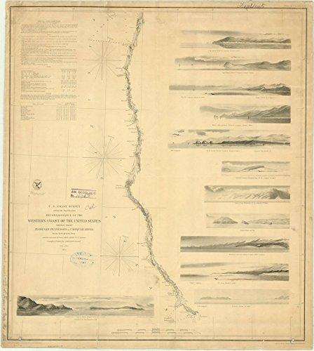Historic Map | San Francisco, California 1854 | Reconnaissance of The Western Coast of The United States : Middle Sheet : from San Francisco to Umpquah [sic.] River | 32in x 36in