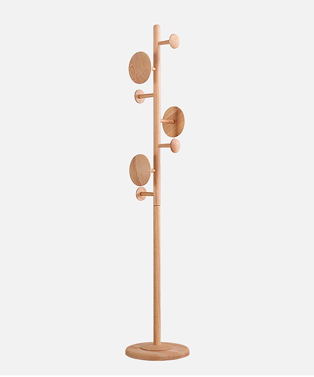 A QIANGDA Coat Hat Floor Standing Rack 7 Circular Hook, 3 Solid Wood Material 183cm Available (color   A)