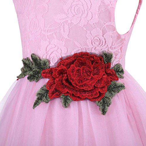 Fille À Princesse Sans Mariée Jupe La Roses Angelof Tulle Bebe Manches Robe Fleurie Rose De Taille Des Dentelle Soiree Enfant Avec qCCfESxw