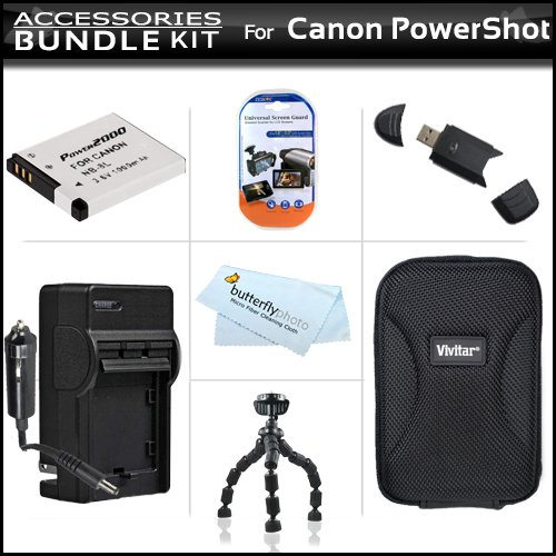 Li 1000mah Extended Ion Battery (Accessories Bundle Kit For Canon PowerShot A3300 IS, A2200 IS, A3100 IS, A3000IS Digital Camera Includes Extended (1000 Mah) Replacement Battery For NB-8L + AC/DC Travel Charger + Hard Case + USB 2.0 Card Reader + Screen Protectors + Flexible Tripod +More)