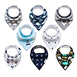 ALVABABY Bandana Drooling Bibs Washable Resuable for Boys and Girls 8 Pack of Super Absorbent Baby Gift Setting SKX09