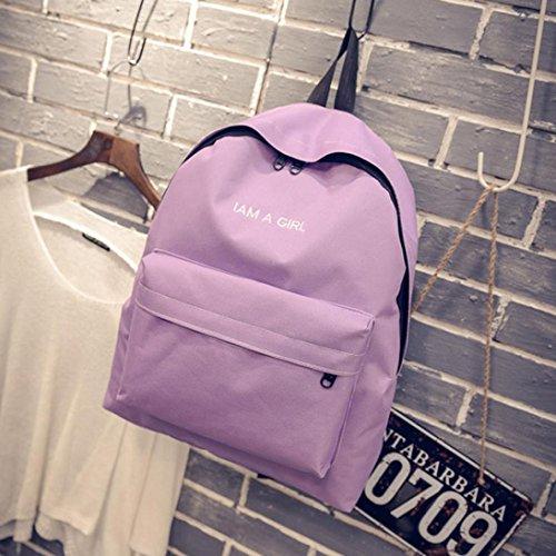 Malloom Unisex niños niñas lona mochila mochila escolar libro hombro bolsas (negro) Morado