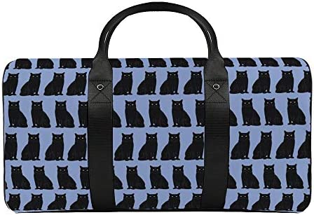 黒猫ブルー1 旅行バッグナイロンハンドバッグ大容量軽量多機能荷物ポーチフィットネスバッグユニセックス旅行ビジネス通勤旅行スーツケースポーチ収納バッグ
