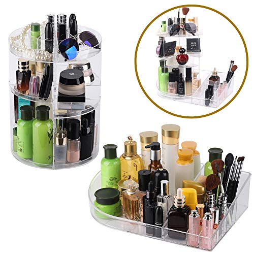SUNFICON Rotating Makeup Organizer with Storage Tray, Large Cosmetic Holder Display Case Fits Beauty Skincare Items Bathroom Dresser Vanity Countertop, Acrylic Clear ()