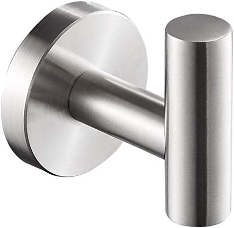 Nolimas Polished Chrome Towel Coat Hooks SUS304 Stainless Steel Bathroom Clothes Garage Hotel Cabinet Closet Sponges Robe Hook Wall Mounted Round Kitchen Heavy Duty Bath Door Hanger 2 Pack
