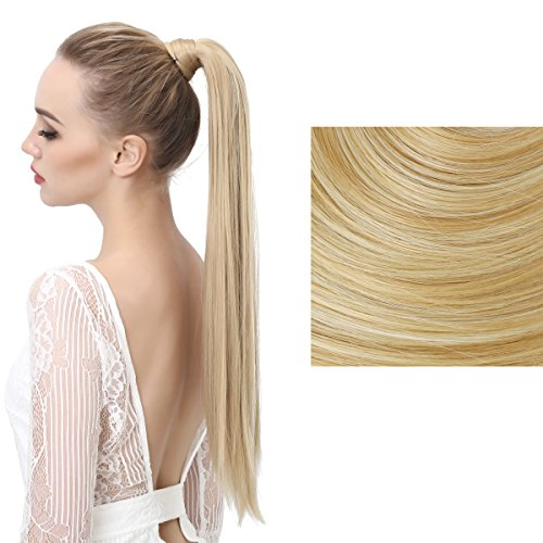 SARLA Women's 1Pc Straight Long Ponytail Hair Extensions Heat-Resisting Synthetic Ponytails Pony Tail Clip Hair Piece (27H613 Golden/Beach Blonde)
