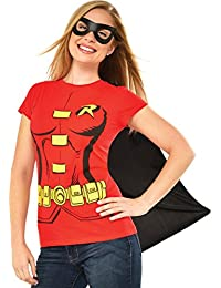 DC Comics Women's Robin T-Shirt With Cape And Eye Mask