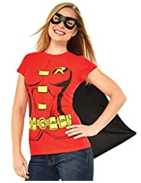 Rubies Costume DC Comics Women's Robin T-Shirt with Cape and Eye Mask, Red