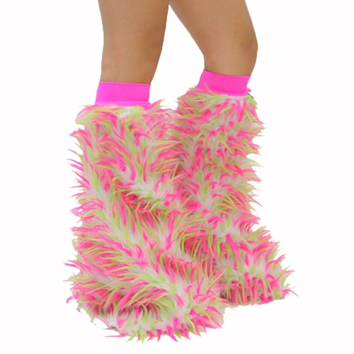 Psy Shoes Costume (Kiwi Psychedelic Pink White Neon Green Rave Furry Legwarmers Fluffies)