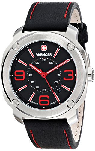 Wenger-Mens-011051103-Escort-Stainless-Steel-Watch-with-Black-Leather-Band