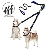 Double Dog Leash with Pouch Bag, Adjustable Dog Walking Leash for 2 Dogs with 1 Leash Reflective Control with Comfort Grip Dual Padded Handles, Training Leash Perfect for Walking Running Hiking, 6.6ft (Double Dog Leash with Pouch Bag) (Double Dog Lead)