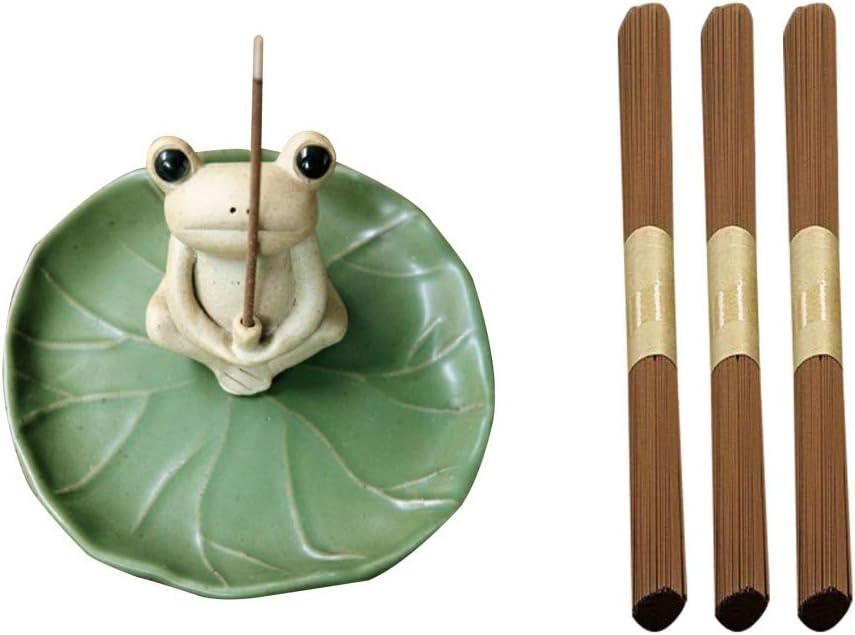 UgyDuky Green Frog Shape Incense Holder with 240 Incense (3 Fragrances) Handwork Home Fragrance Accessories for Tea House Fragrance Home Office Yoga Room Bedroom Bathroom