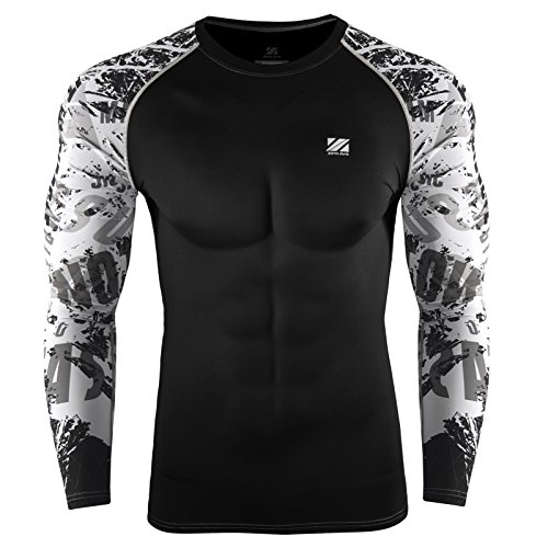 Zipravs MMA Bjj Compression Tight Shirt Longsleeve Running Baselayer For Unisex (Tights Compression Unisex)