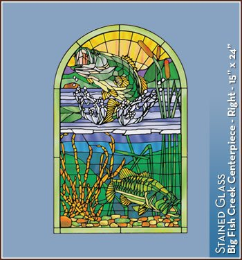 Big Fish Creek Stained Glass Accents Window Film - Ctr. 15 in x 24 in-R (Glass Fish Stained)